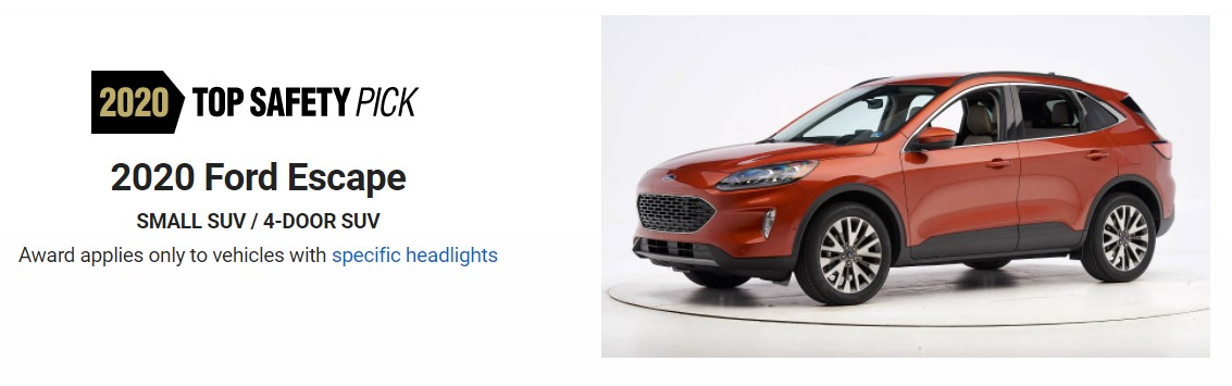 Ford Escape Hybrid safety rating Top Pick